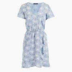 J.Crew Printed Chambray faux wrap Ruffle dress